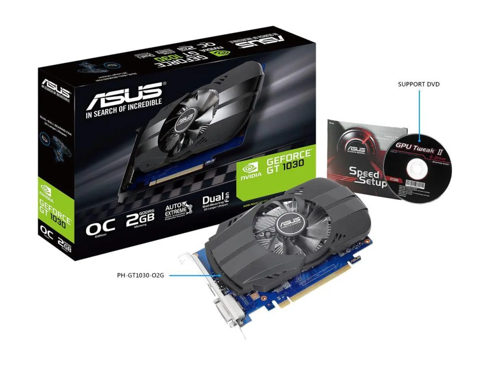 ASUS GeForce GT 1030 Phoenix Fan OC Edition Graphics Card (PH-GT1030-O2G)