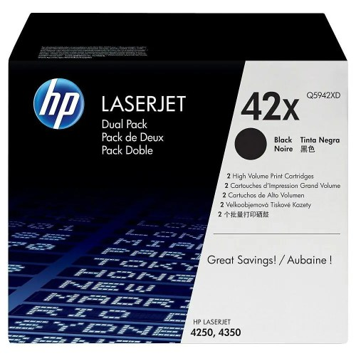 HP 42X Black High Yield Original LaserJet Toner Cartridges Dual Pack (Black) (Q5942XD)