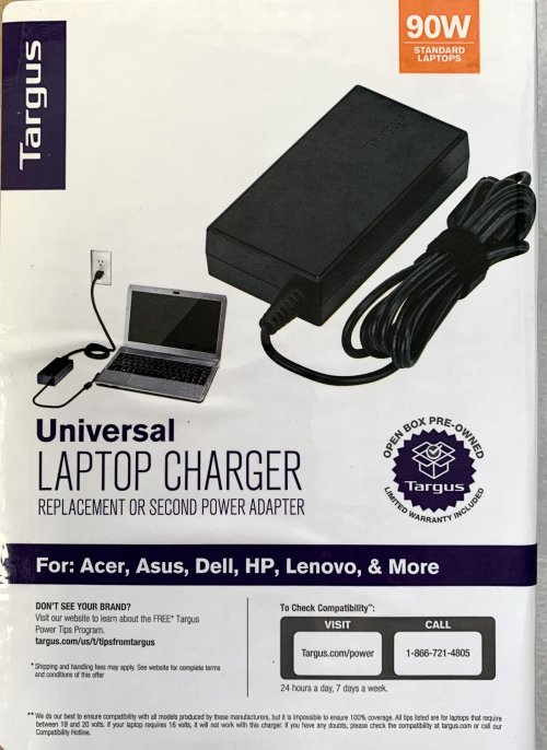 Targus 90 W Universal Laptop Charger for Acer, Asus, Dell, HP, Lenovo & More (APA790USO-72R)