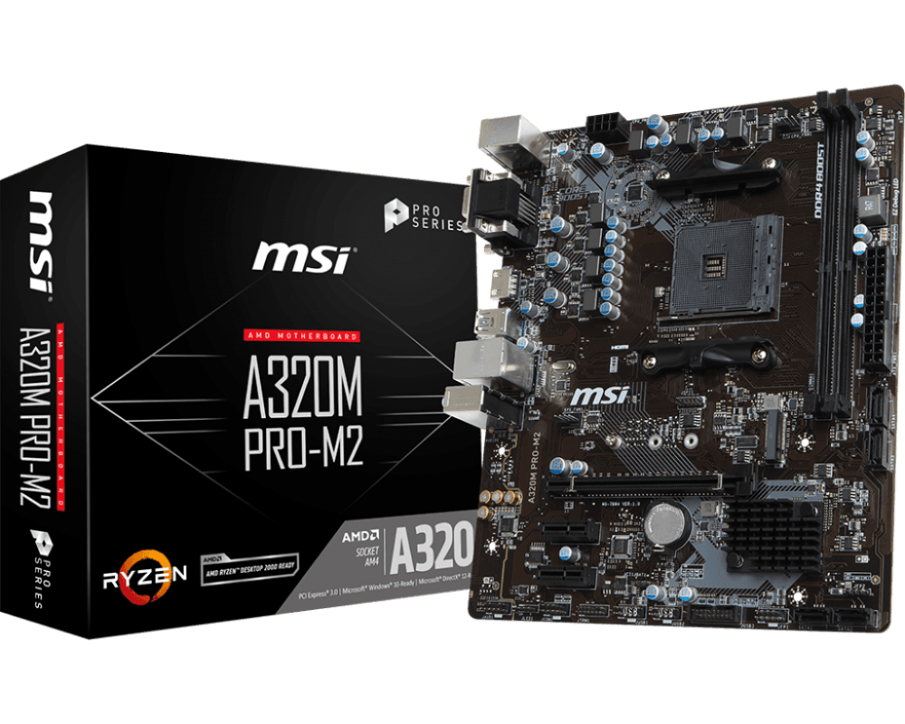 MSI A320M PRO-M2 V2 AM4 AMD A320 SATA 6 GB/s USB 3.1 HDMI Micro ATX AMD Motherboard