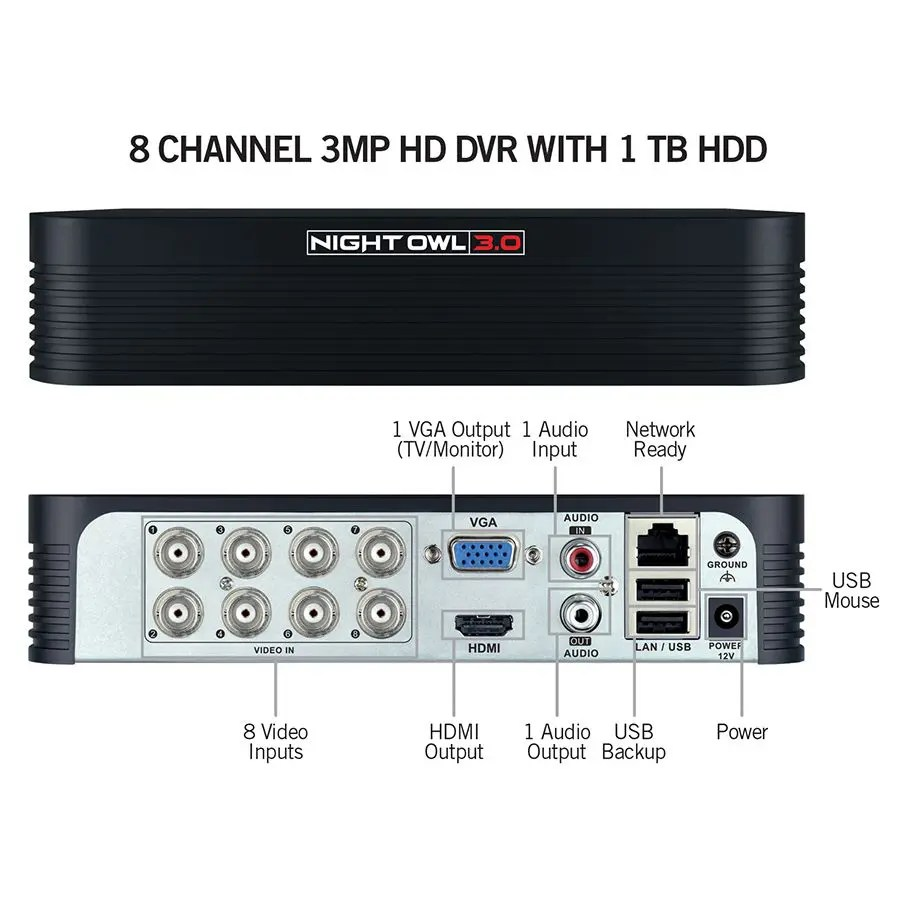 Night Owl 8 Channel 3MP Extreme HD Wired Security System (WM-861P-3MP-B)