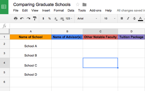 It may be helpful to create an excel spreadsheet to compare schools!