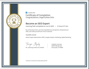 certficate-become-seo-expert-linkedin-learning Angel Eulises Ortiz