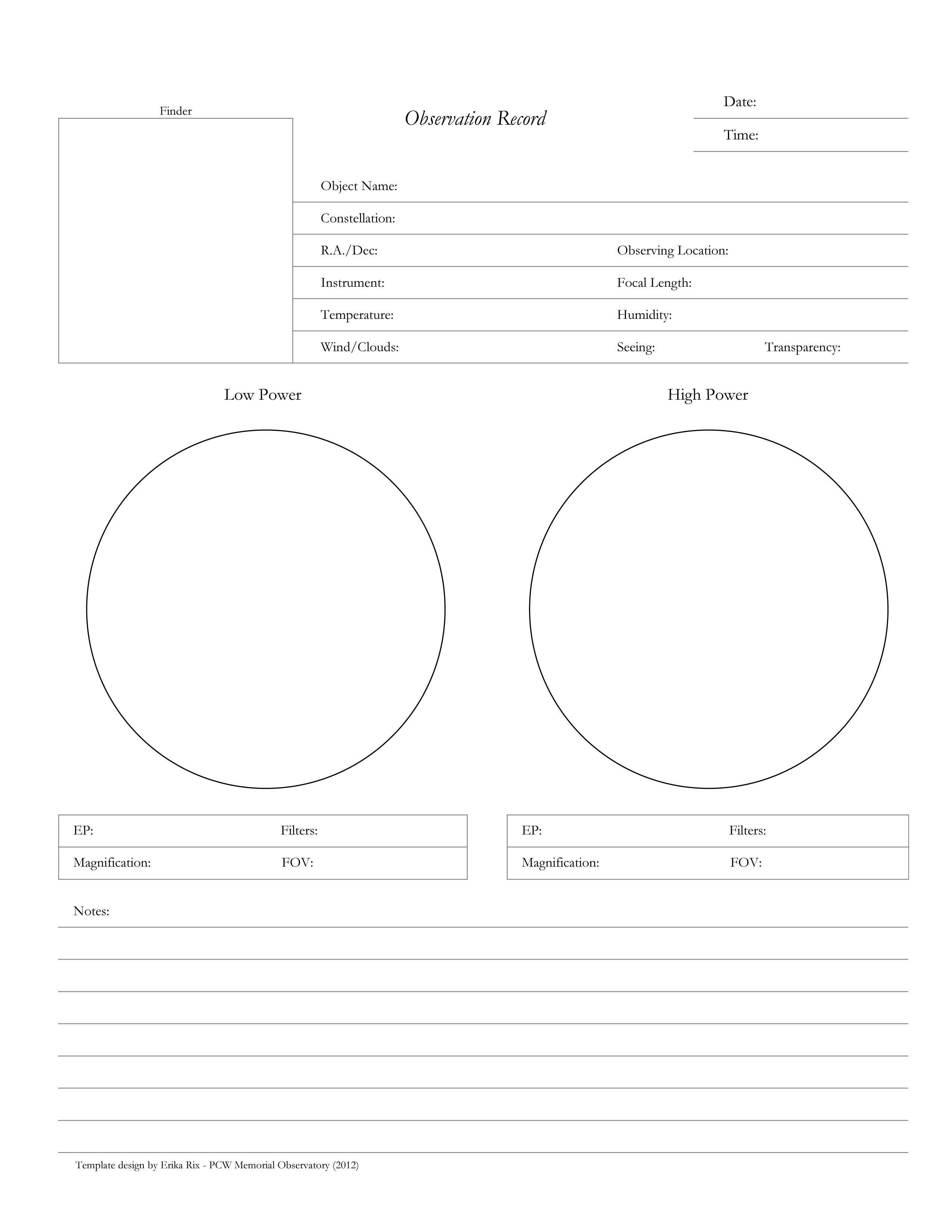 Observation Forms Templates Pcw Memorial Observatory