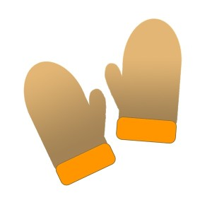 ミトンの手袋:茶色