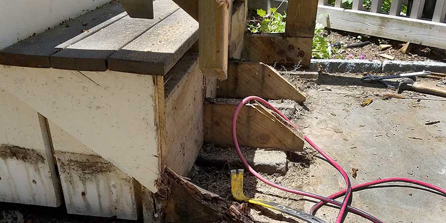 Rotted stair exposed