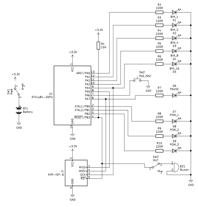 A circuit diagram showing the schematic for the second revision of the Pomodoro timer. It is a tangle of wires and components.