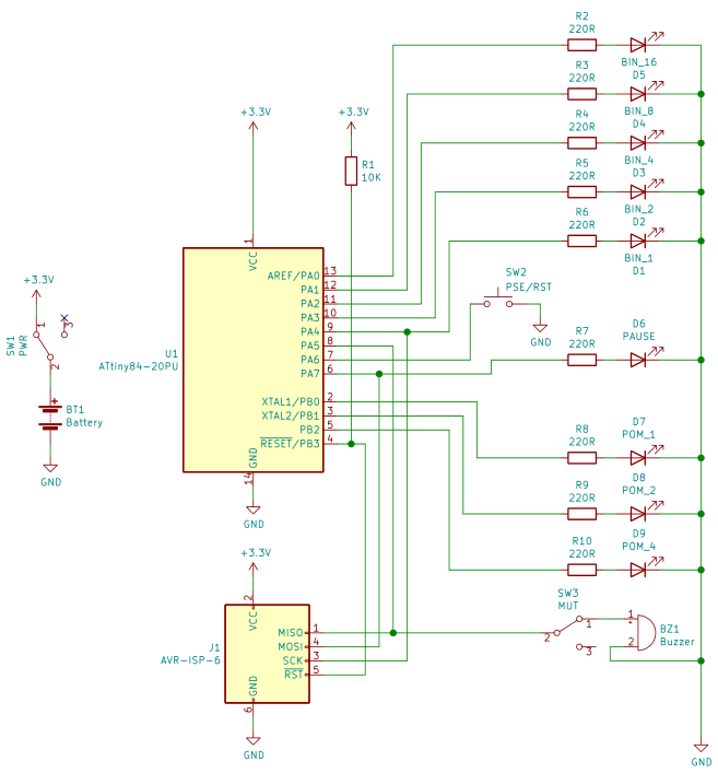 A circuit schematic for the Pomodoro timer, showing an ATtiny84 linked to a number of LEDs, an ISP programmer, and a buzzer. The schematic indicates the whole set is powered by a 3-volt battery.