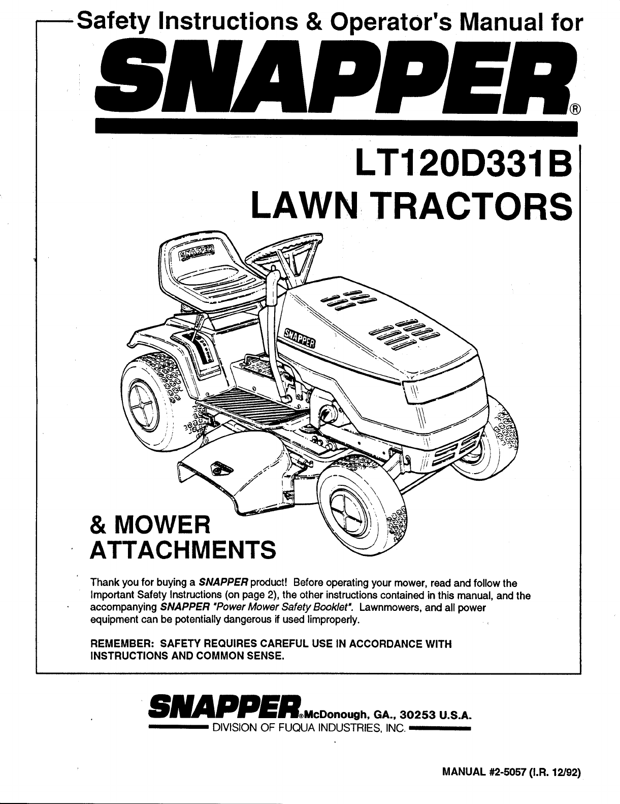 Snapper Lawn Mower Lt120d331b User Guide