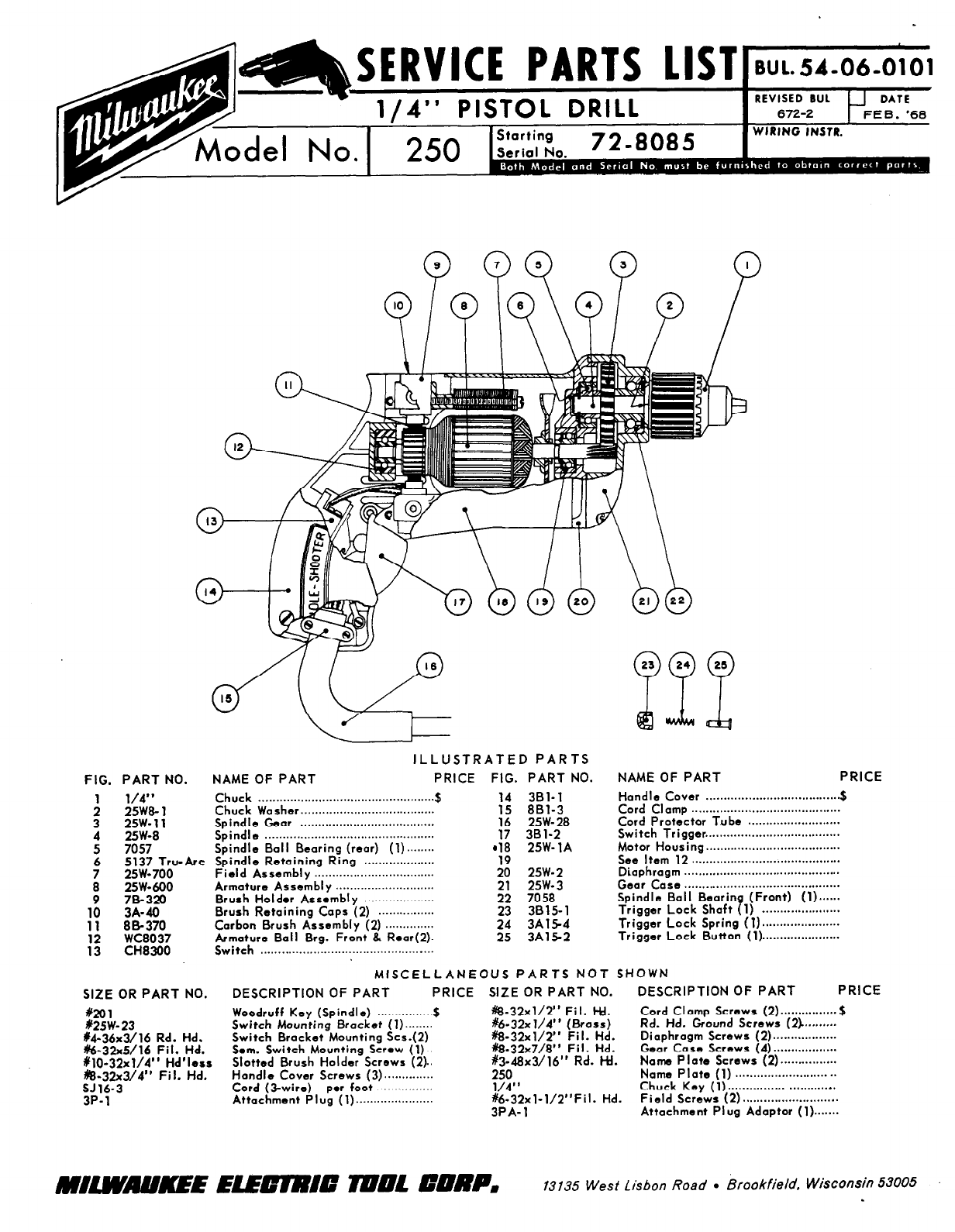 Milwaukee Drill 250 User Guide