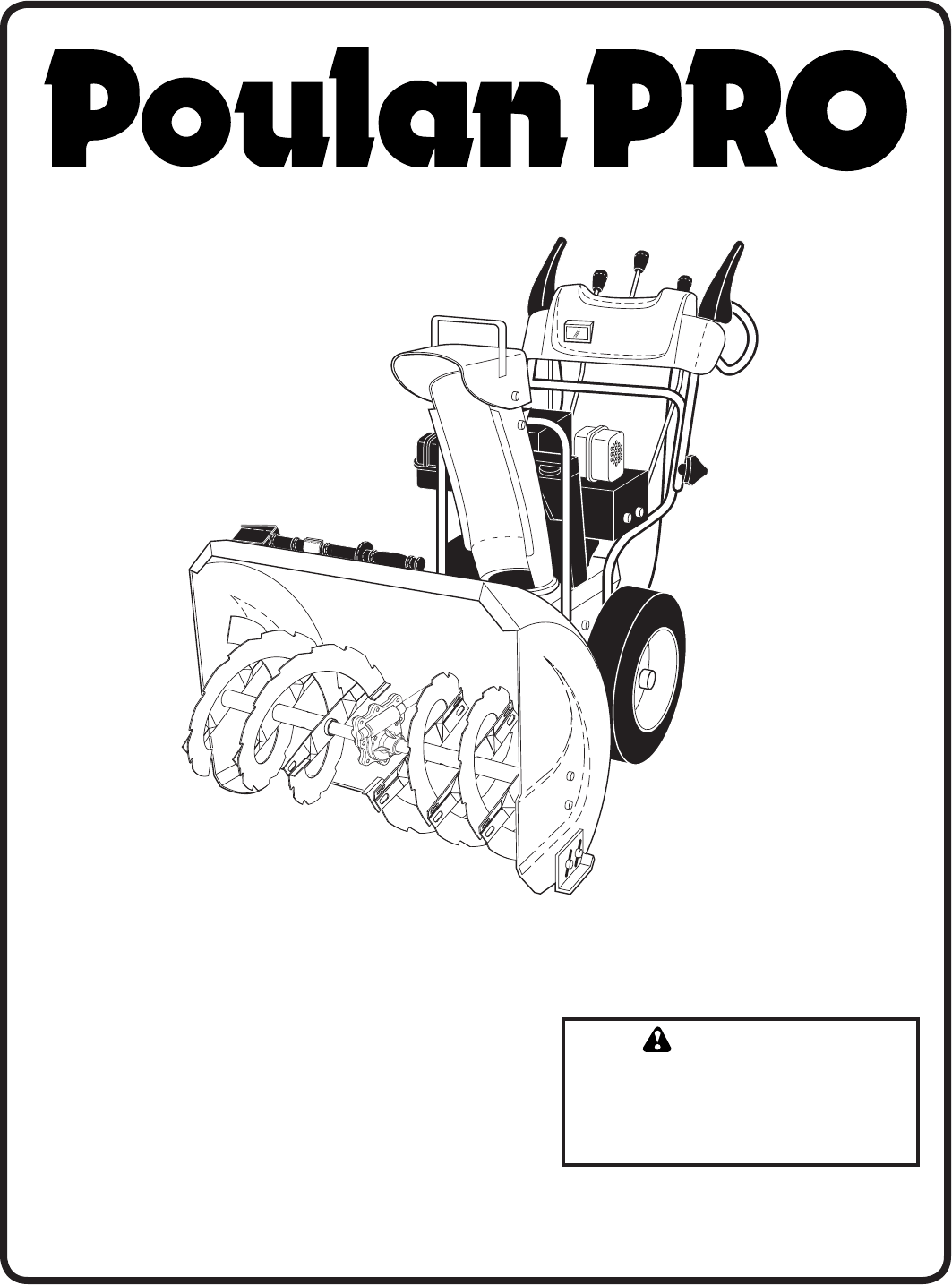 Poulan Snow Blower Pp291e27 User Guide