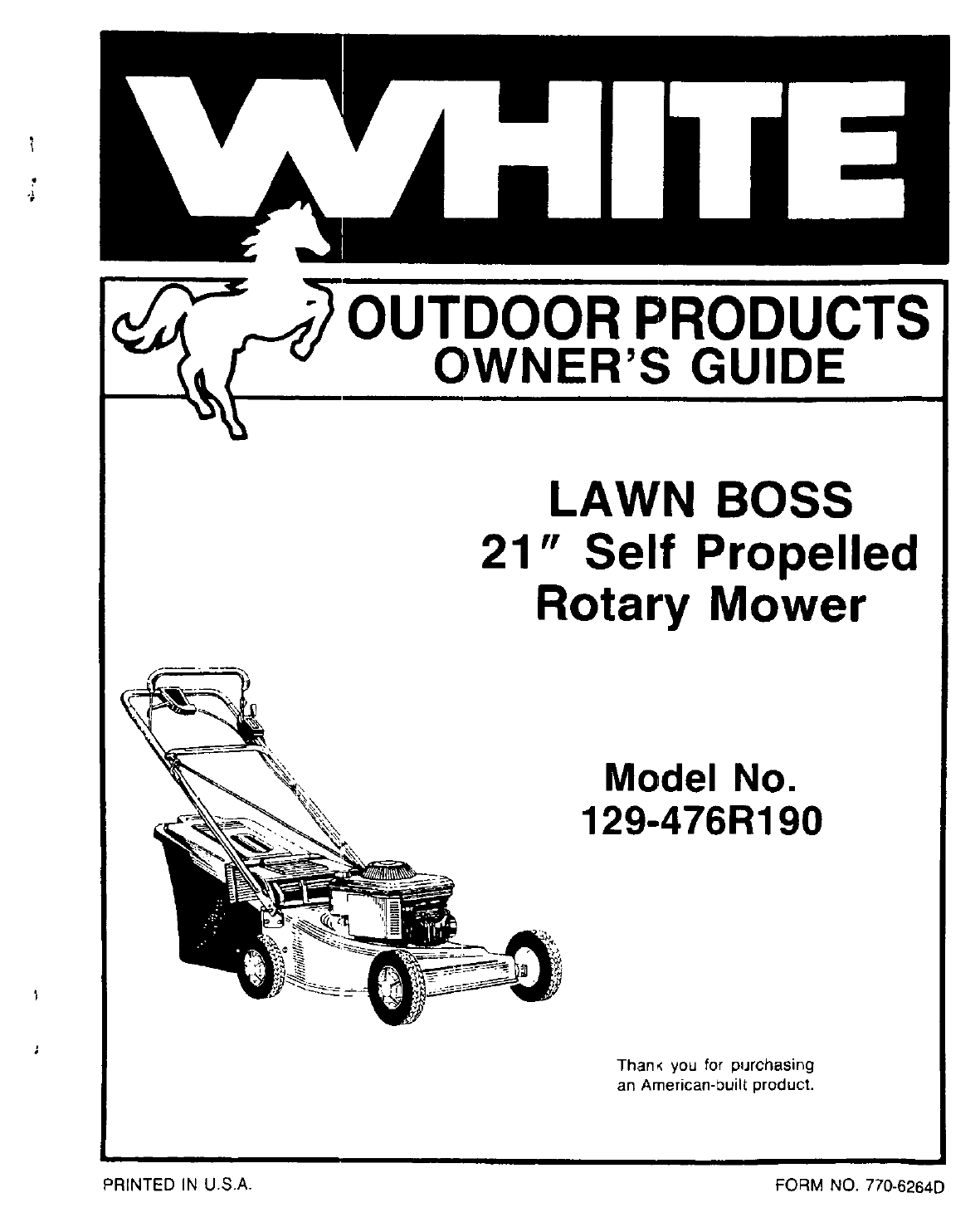 White Outdoor Lawn Mower 129 476r190 User Guide