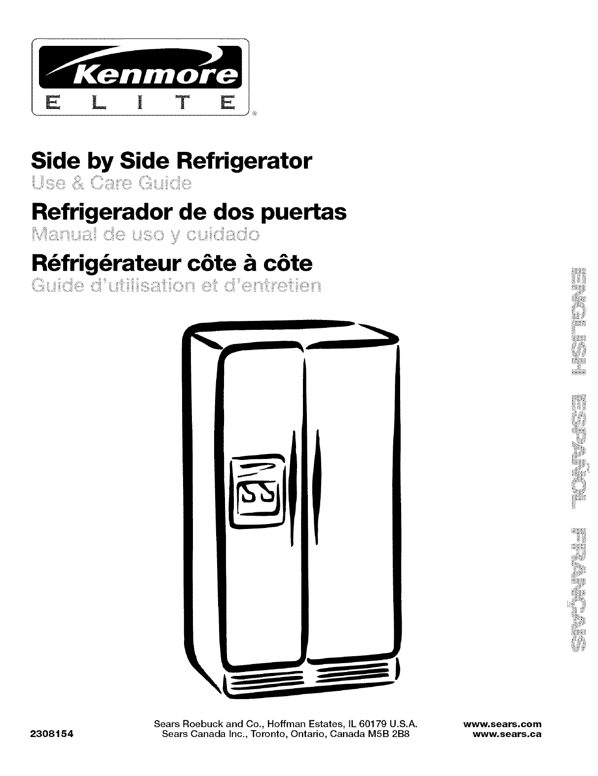 Kenmore Refrigerator Elite User Guide