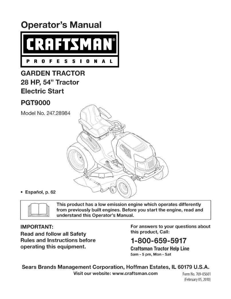 Craftsman Lawn Mower Pgt9000 User Guide