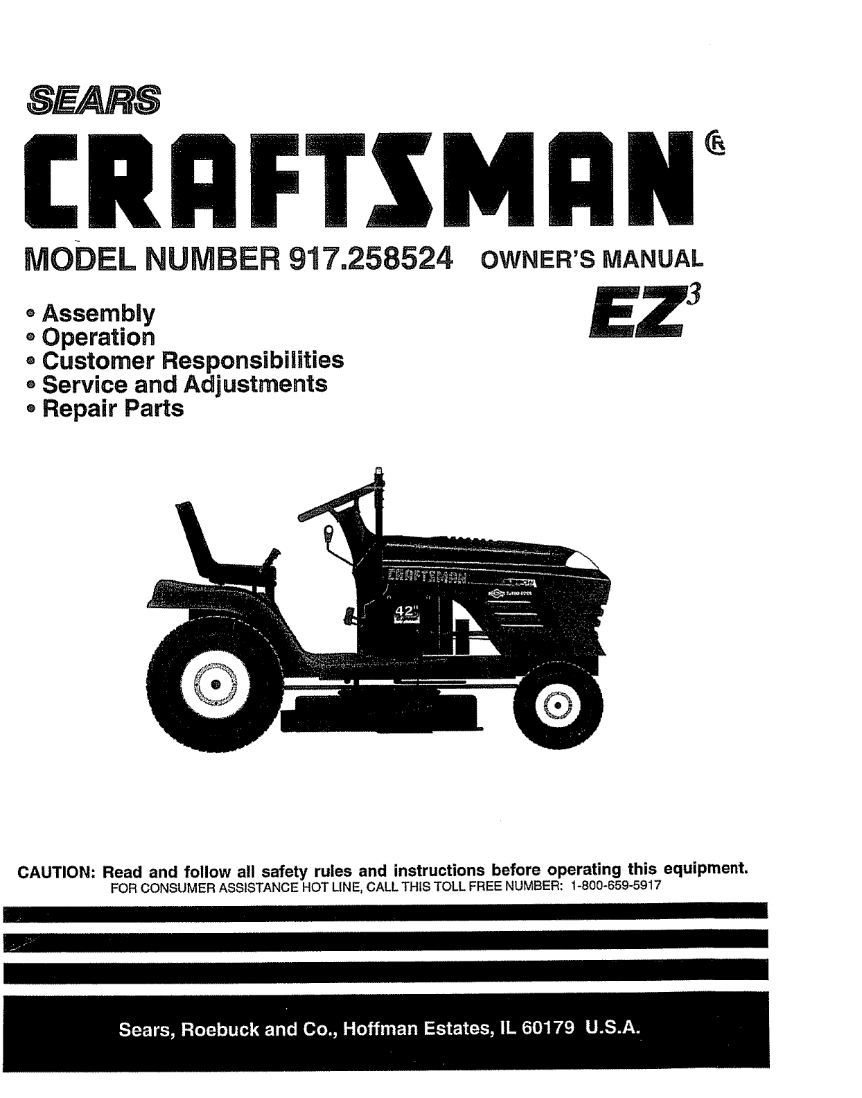 Sears Lawn Mower 917 User Guide