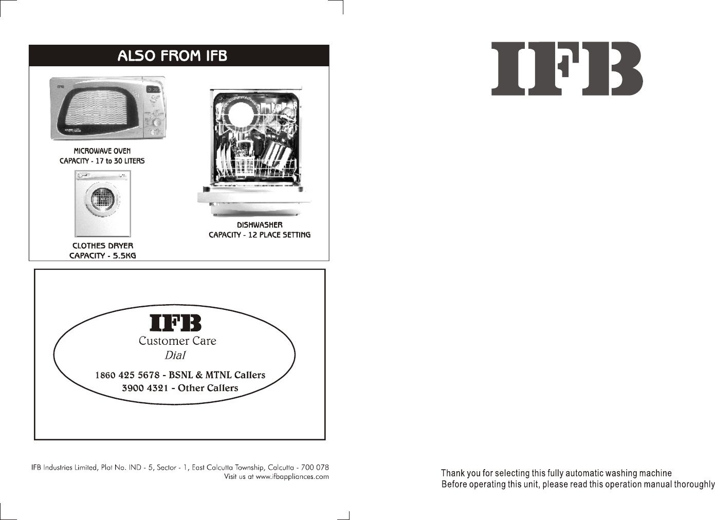 Ifb Appliances Washer Aw60 806 User Guide