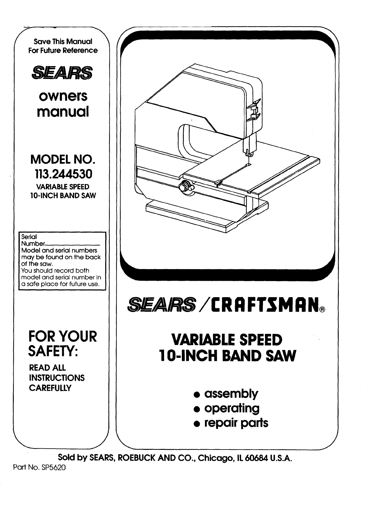 Sears Saw 113 User Guide
