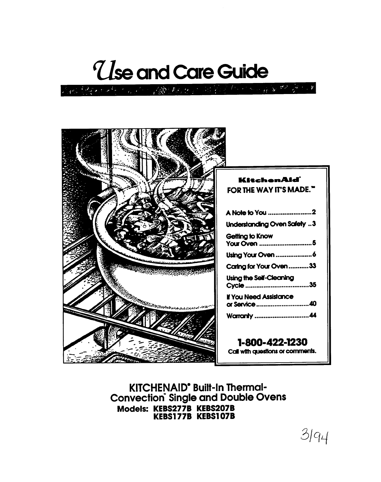 Kitchenaid Convection Oven Kebs177b User Guide