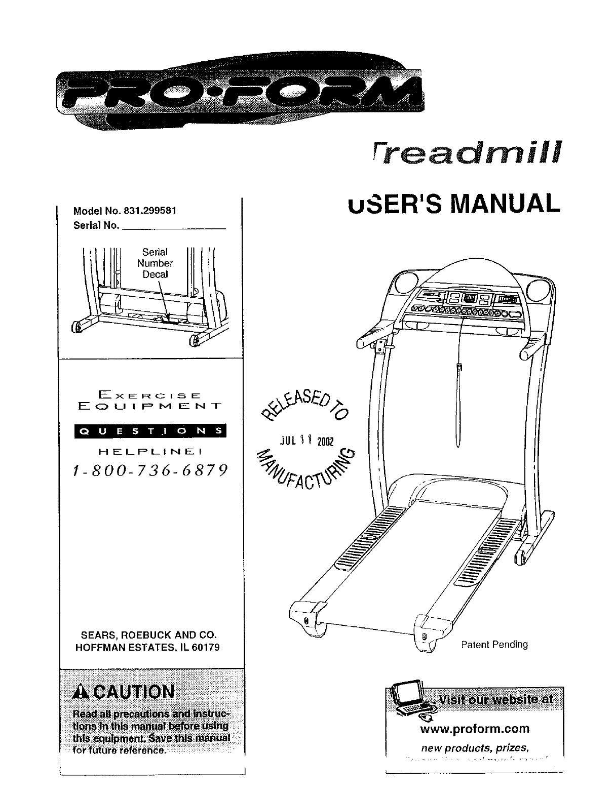 Sears Treadmill 831 User Guide