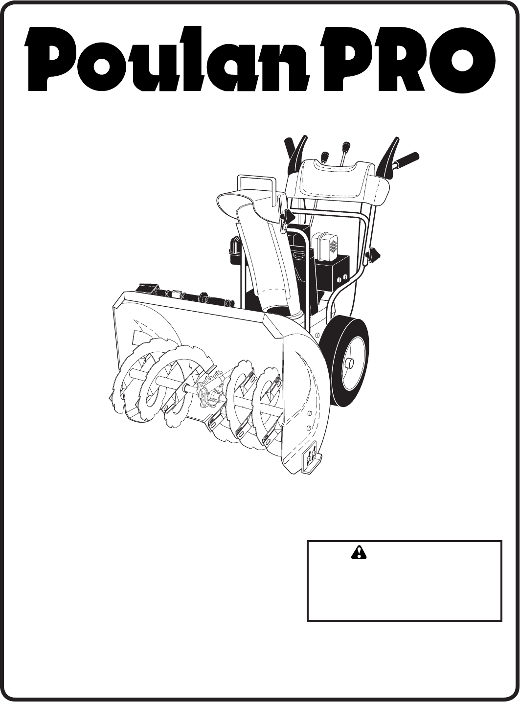 Poulan Snow Blower Pp208e24 User Guide