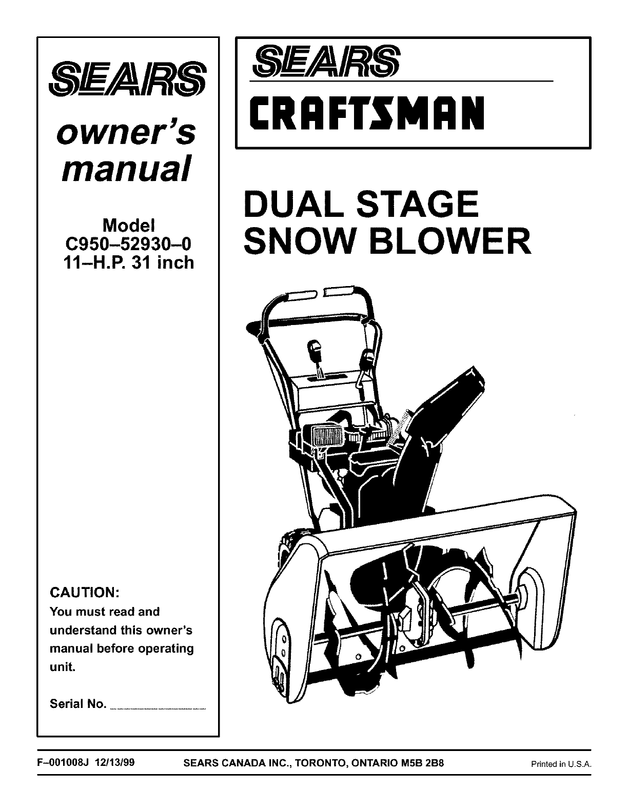 Craftsman Snow Blower C950 0 User Guide