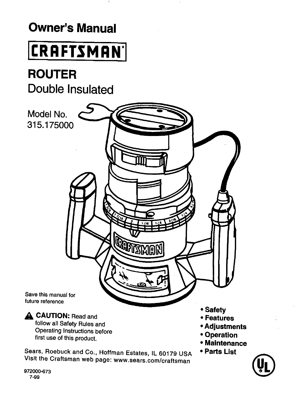 Craftsman Router 315 175 User Guide