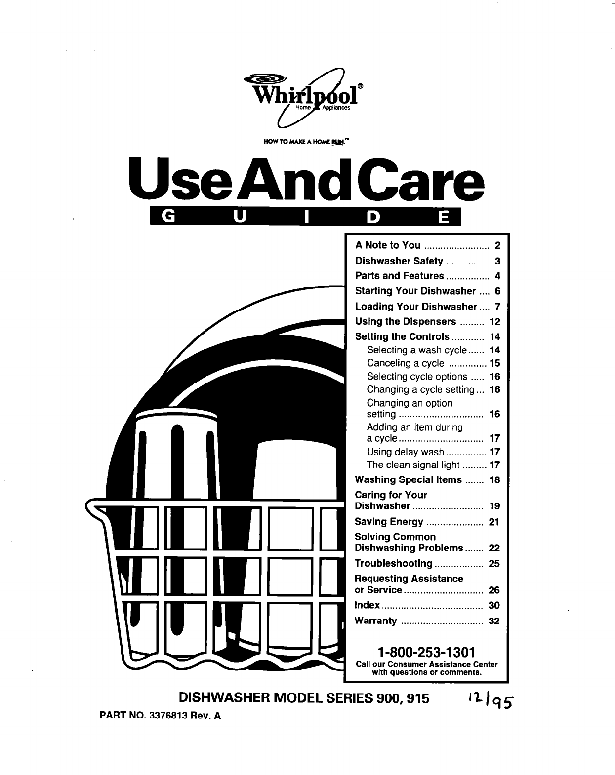 Whirlpool Dishwasher 915 User Guide
