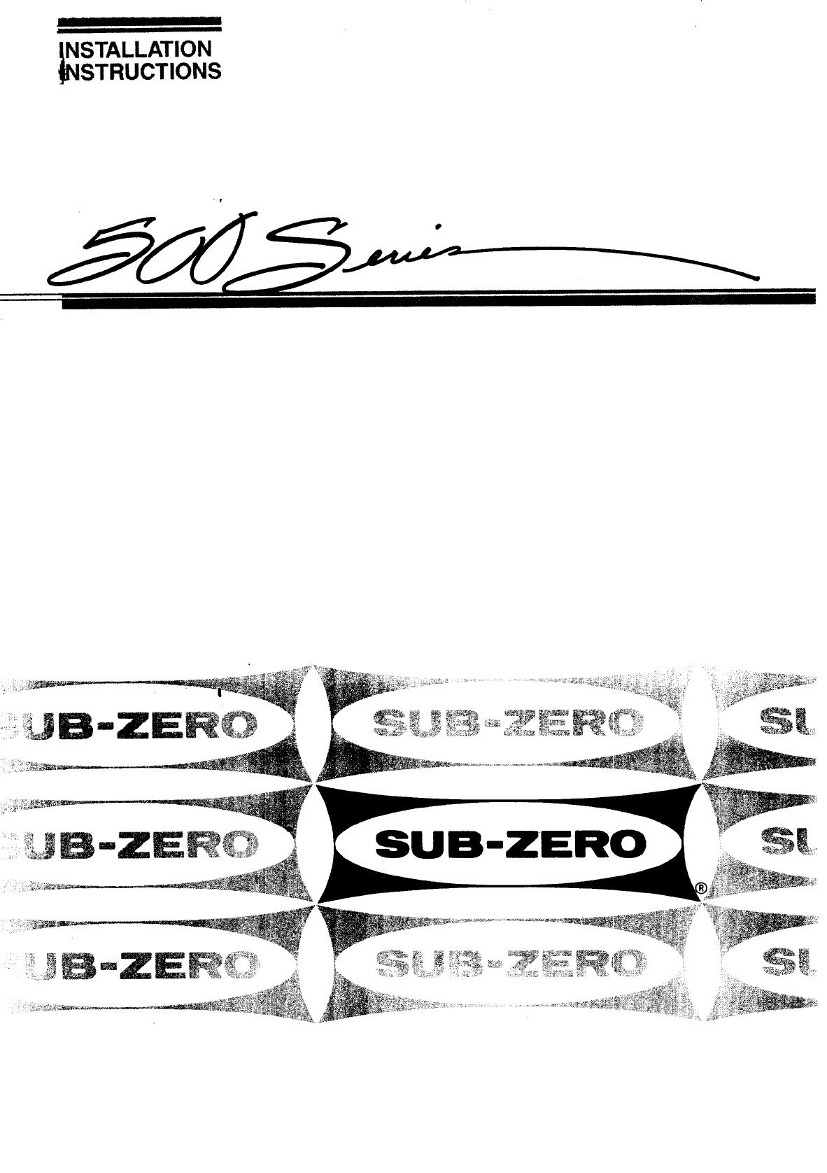 Sub Zero Refrigerator 542 User Guide