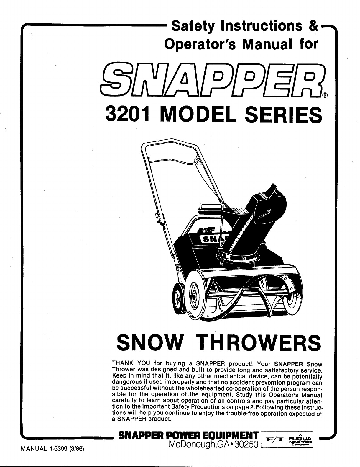 Snapper Snow Blower User Guide
