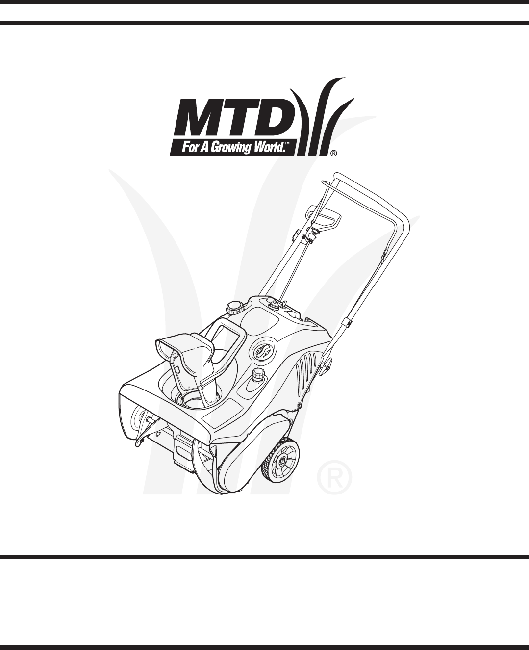 Mtd Snow Blower Single Stage Snow Thrower User Guide