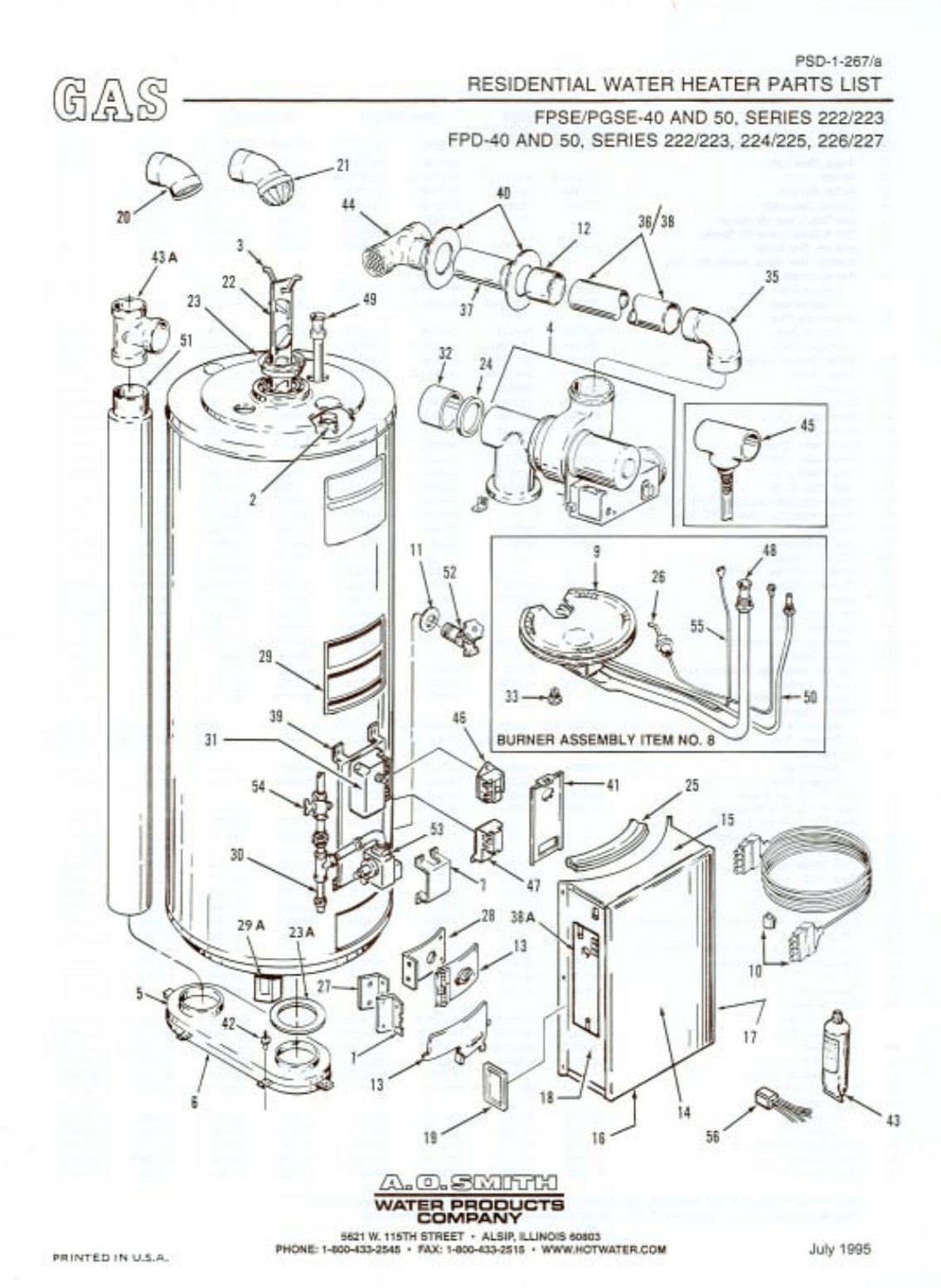 A O Smith Water Heater Fpse Pgse 50 User Guide