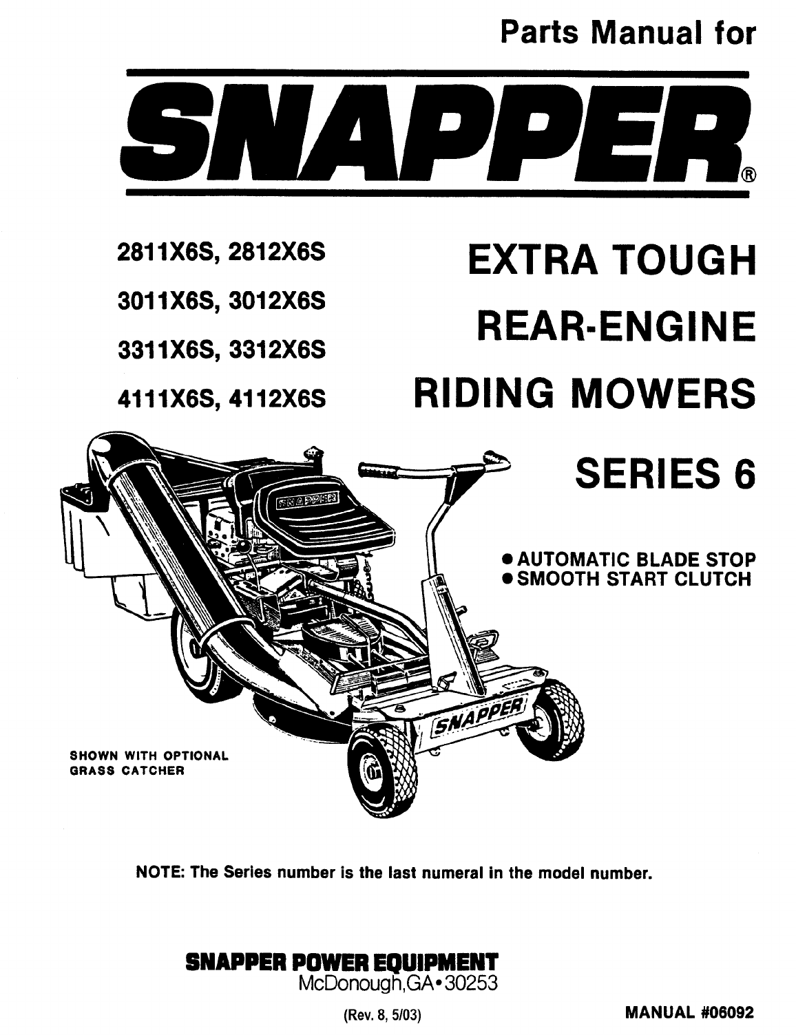 Snapper Lawn Mower X6s User Guide