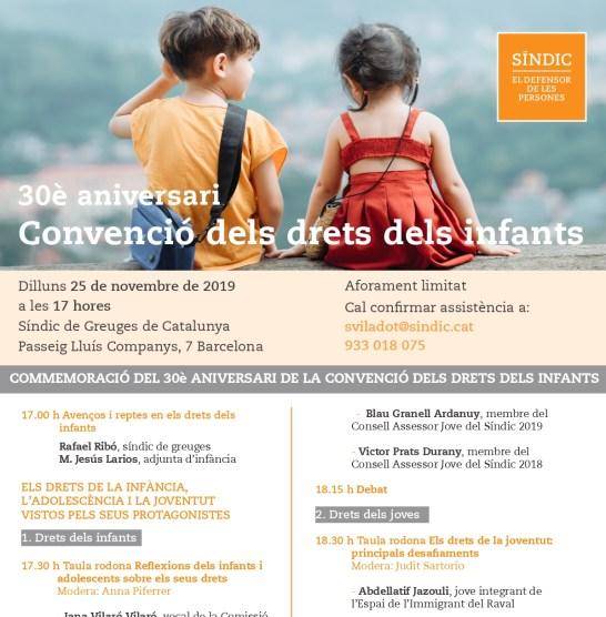 Jornada Síndic de Greuges, Commemoració 30è aniversari Convenció dels drets dels infants, 2019