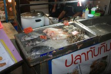 Street fish, crabs and clamshells
