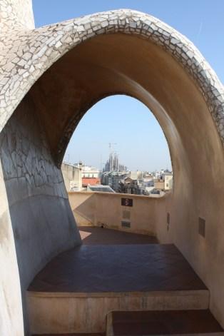 View of La Sagrada Familia through an arch