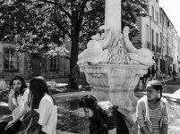Another Aix fountain, with dolphins and a column and a number of girls around :-)