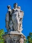 The three figures of the fontain de la Rotonde