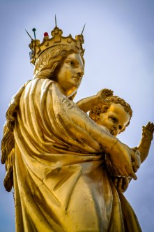 Detail of the statue on top the Notre Dame de La Garde. Actually the absolute tallest point in the city