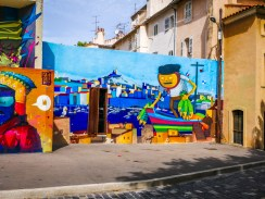 Graffiti in the Pannier. Marseille is a city of the sea, so the maritime theme