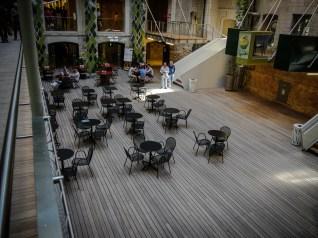 Lunch/cafe area inside Les Docks