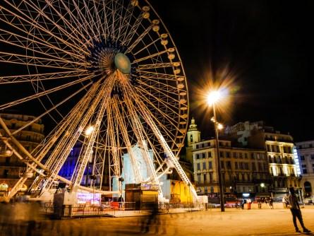 The ferris wheel at night. Long exposure