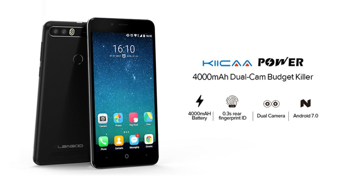 1502934052508472 Leagoo KIICAA POWER   5.0  3G (2GB RAM, 16GB ROM) Android 7.0 Nougat, 8MP+5MP+5MP, Dual Sim Smartphone Black