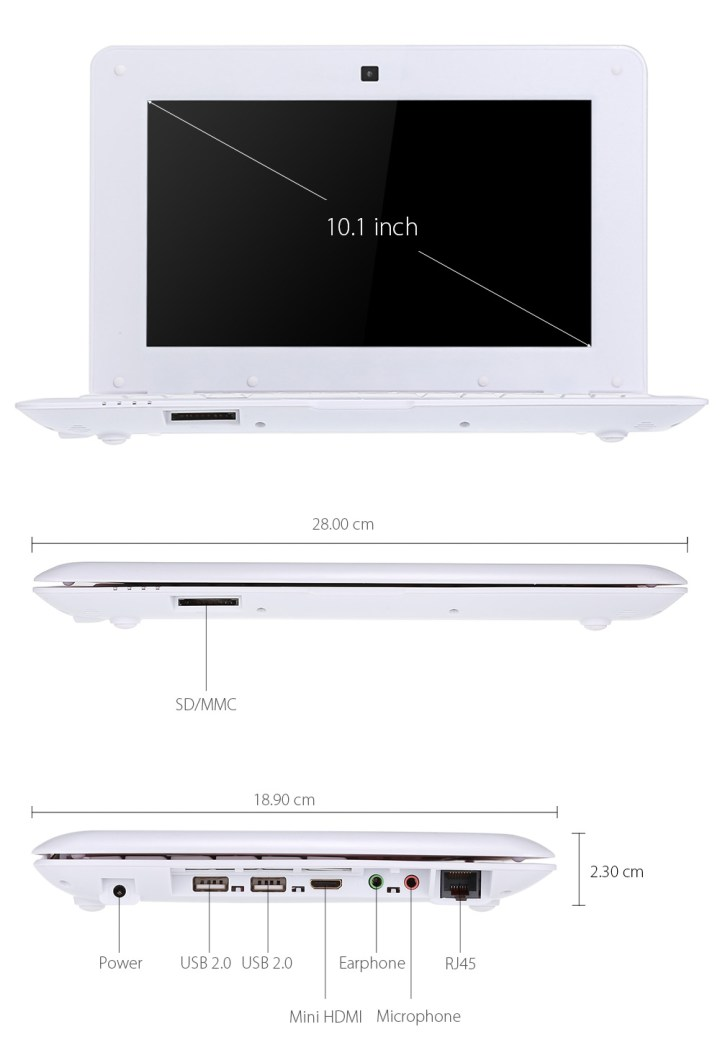 Generic TDD V101 512   10.1 Notebook   512MB+8GB Android 5.1   HDMI 3000mAh EU   White price in Nigeria