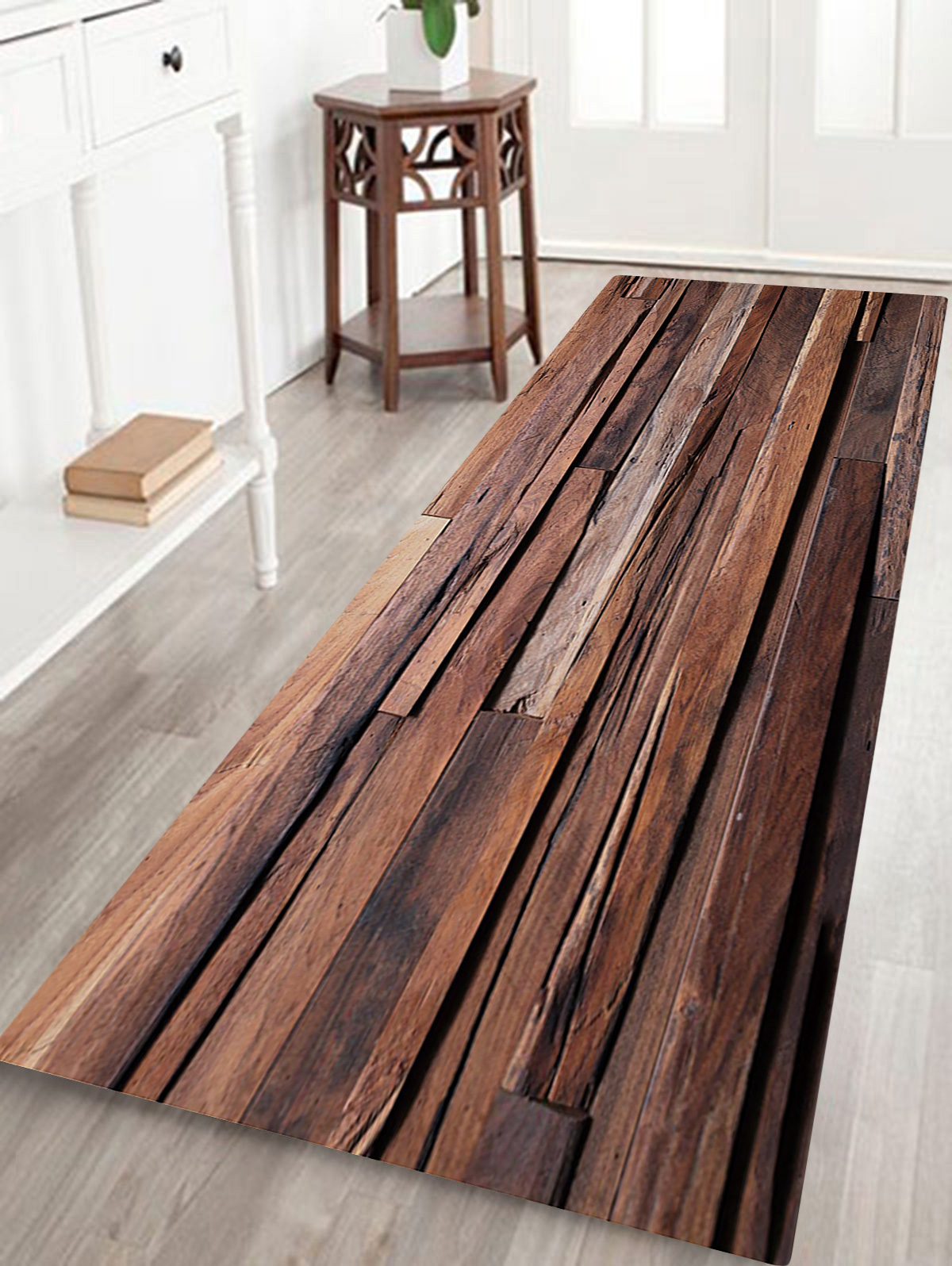 Details About Joint Wood Board Pattern Non Slip Floor Area Rug Runners Rectangle Living Room