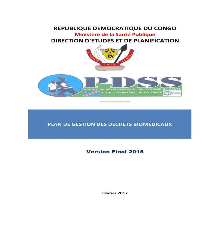 PLAN DE GESTION DES DECHETS BIOMEDICAUX