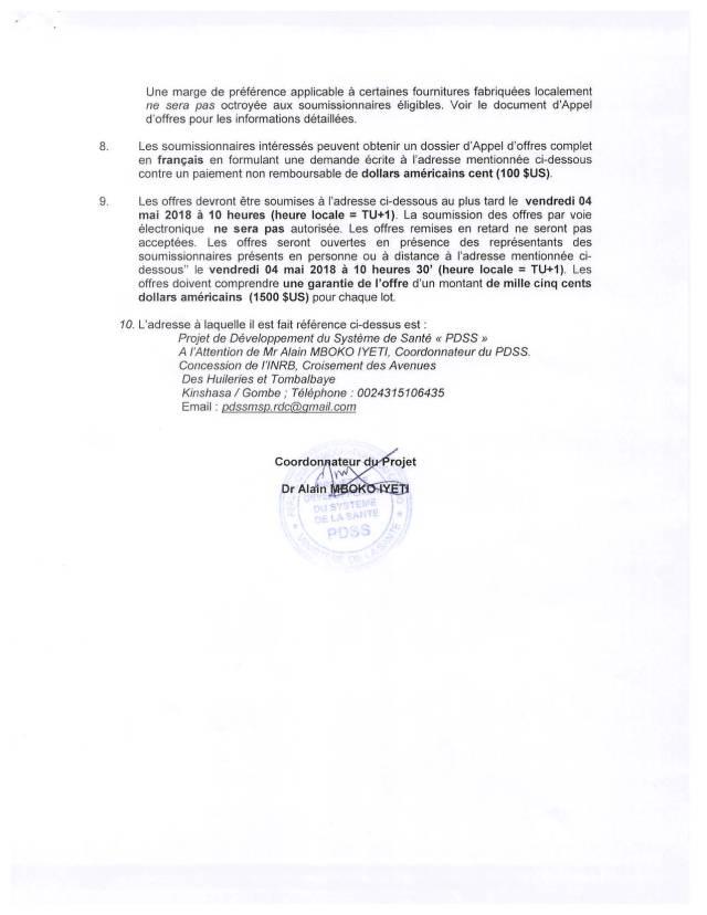 PDSS-AVIS D'APPEL D'OFFRE (AAO) National N°004-PDSS-F-2018 sur la Reproduction de documents divers pour le compte du PDSS