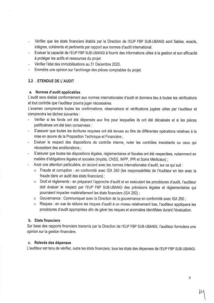 Recrutement d'un Consultant Chargé de l'Audit Financier et de Gestion du Programme d'achat Stratégique à l'EUP FBP SUS UBANGI