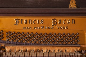 Francis Bacon name cast into piano's pin bock