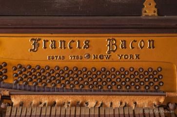 Francis Bacon name cast into piano's pin bock