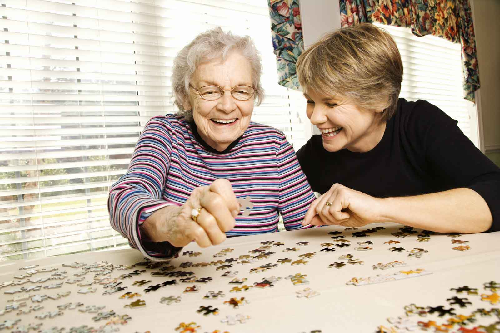 Companion care aid playing a jigsaw puzzle with a client